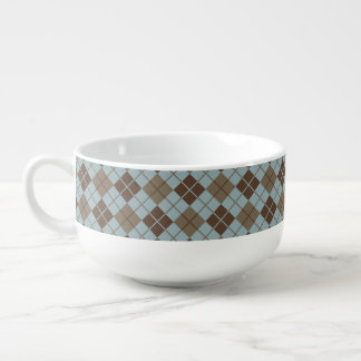 Argyle Pattern in Blue and Taupe Soup Mug