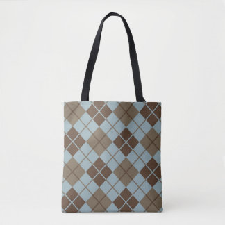 Argyle Pattern in Blue and Taupe Tote Bag