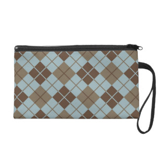 Argyle Pattern in Blue and Taupe Wristlet Purse