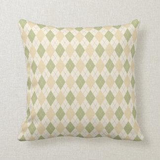 Argyle Pattern in Sage & Tan Throw Pillow