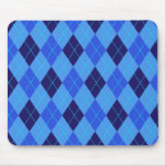 Argyle pattern in shades of blue mousepad, gift