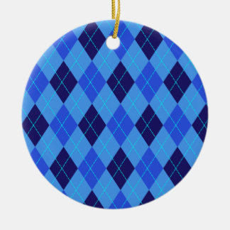 Argyle pattern in shades of blue ornament, gift round ceramic decoration