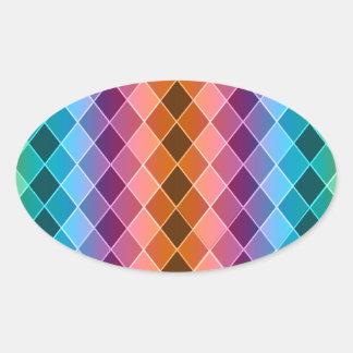 Argyle pattern oval sticker