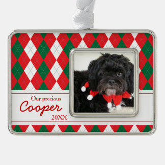 Argyle Pattern Pet Photo Custom Christmas Ornament