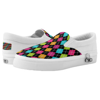 Argyle Pattern Slip On Shoes