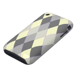 Argyle Pattern Yellow Purple iPhone 3 Tough Covers