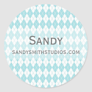 Argyle patterned background classic round sticker