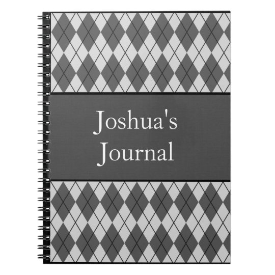 Argyle Patterned Notebook -Grey