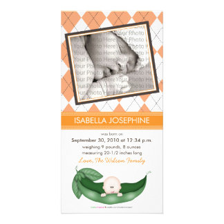 Argyle Pea in a Pod Baby Birth Announcement orange Photo Card