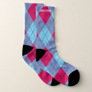Argyle Pink and Blue and Blue-Gray w/ Custom Name 1