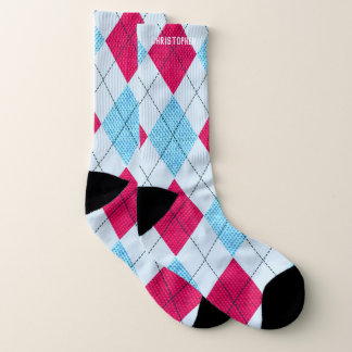 Argyle Pink and Blue and Light Blue w/ Custom Name 1
