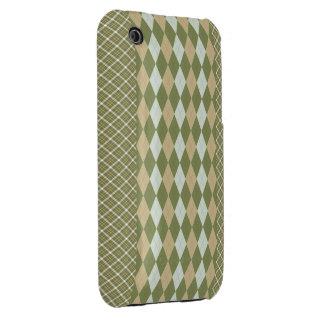 Argyle Plaid Olive iPhone 3 Case