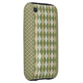 Argyle Plaid Olive Tough iPhone 3 Covers