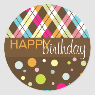 Argyle & Polka Dot Happy Birthday Round Sticker