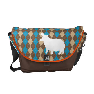 "Argyle Print Messenger Bag with Hippo ""Hipster"""