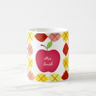 Argyle Red Apple Teacher's Coffee Mug