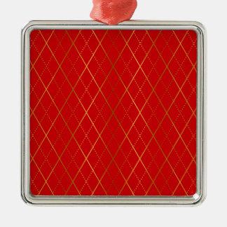 Argyle (Red) Christmas Ornament