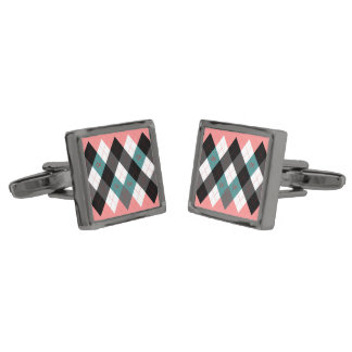 Argyle Revisited 3 Gunmetal Finish Cuff Links