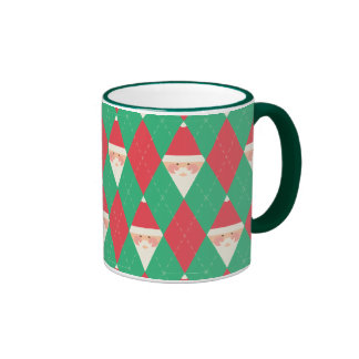 Argyle Santa Pattern Coffee Mugs
