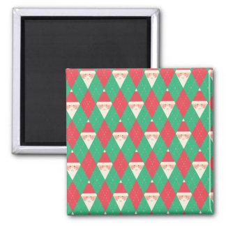 Argyle Santa Pattern Fridge Magnets