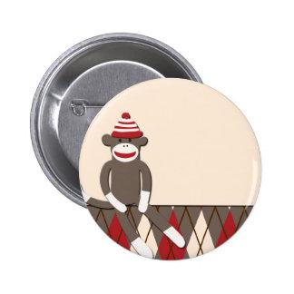 Argyle Sock Monkey 6 Cm Round Badge
