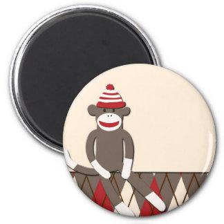 Argyle Sock Monkey 6 Cm Round Magnet