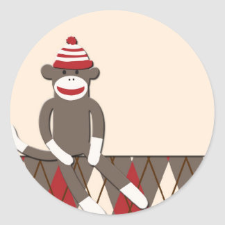Argyle Sock Monkey Classic Round Sticker