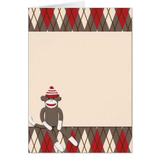 Argyle Sock Monkey Greeting Card