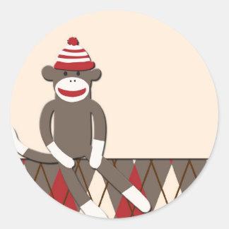 Argyle Sock Monkey Round Sticker