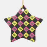 Argyle turtle pattern on black christmas ornament