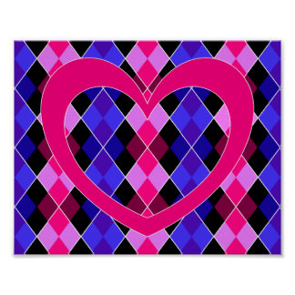 Argyle with pink heart poster
