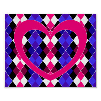Argyle with pink heart print
