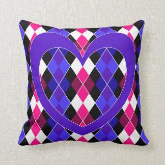 Argyle with purple heart throw pillow