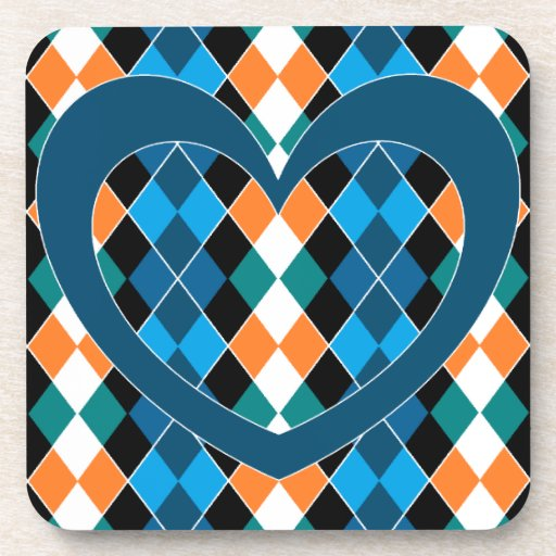 Argyle with teal heart beverage coasters