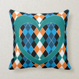 Argyle with teal heart throw pillow