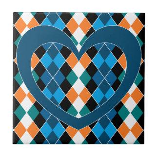 Argyle with teal heart tiles