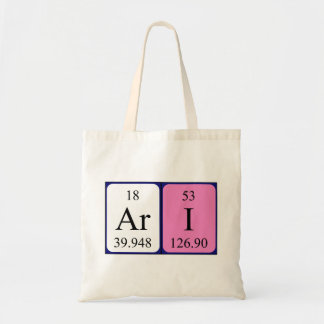 Ari periodic table name tote bag