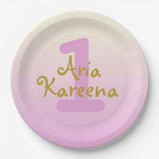 "Aria Kareena 7"" Paper Plates Ombre Beige Pink"
