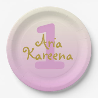 """Aria Kareena 7"""" Paper Plates Ombre Beige Pink 9 Inch Paper Plate"""