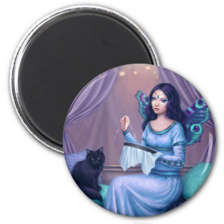Ariadne Peacock Butterfly Fairy Round Magnet