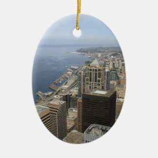 Arial View of Seattle Christmas Ornament