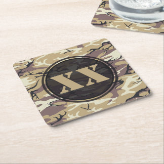 Arid Brown Camouflage Coaster w/ Text Square Paper Coaster