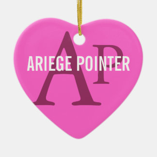 Ariege Pointer Breed Monogram Double-Sided Heart Ceramic Christmas Ornament