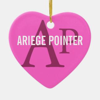 Ariege Pointer Breed Monogram Ceramic Heart Decoration