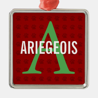 Ariegeois Breed Monogram Square Metal Christmas Ornament