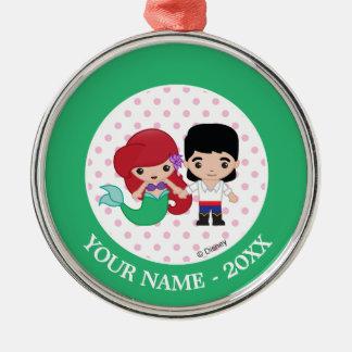 Ariel and Prince Eric Emoji Add Your Name Christmas Ornament
