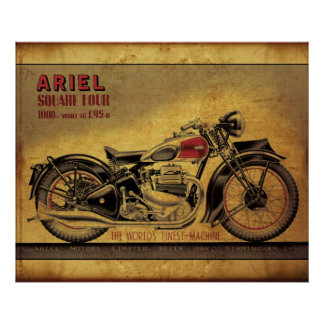 Ariel square four vintage motorcycle poster