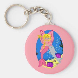 Ariel the Pink Merfaery and Dolphin Keychain
