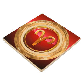 Aries Astrological Sign Maple Wood Coaster
