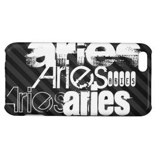 Aries; Black & Dark Gray Stripes iPhone 5C Cases
